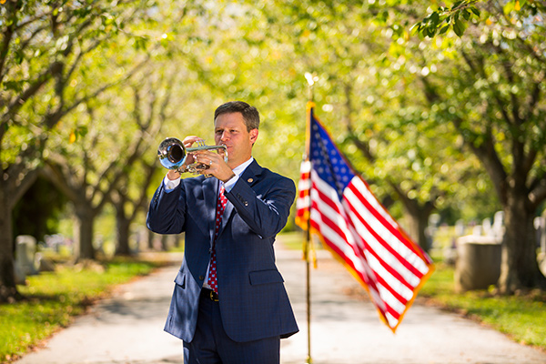 Matt Grieco paying trumpet at Veterans service